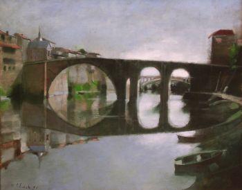 SCHENCK Le pont-vieux à Villeneuve