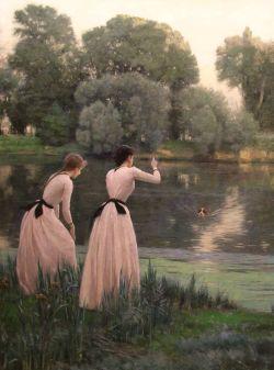 REALIER-DUMAS   2 jeunes-filles au bord d`une rivière